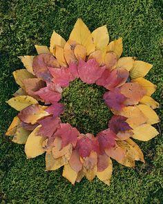 Leaf Wreath  Young hands can experiment with different shapes and colors of leaves to make pretty wreaths.