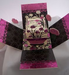 My Pink Stamper: National Scrapbook Day Challenge Fun Fold Cards, 3d Cards, Paper Cards, Folded Cards, Exploding Box Template, Exploding Box Card, Scrapbook Paper Crafts, Scrapbook Cards, Paper Crafting