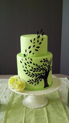 Green and Black Willow Tree - Hand-painted tree on green fondant.  The roses were made from modeling chocolate