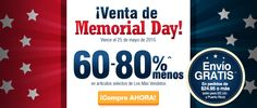 VENTA DE MEMORIAL DAY  *Vence el 25 de mayo  60 - 80% menos en artículos selectos de los más vendidos  ** Envío gratis para USA y PR en pedidos de 24,95$ o más. http://es.puritan.com/search?scid=29135