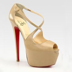 Louboutins...Nude leather upper  • Heel measures approximately 160mm/ 6.3'' with a 60mm/2.4'' platform  • An peep toe  • Signature red sole