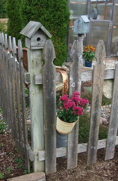 "birdhouse, picket fence, mums, garden - ""Harvest Time at the Farm 2013"" Saltbox farm, Howard City, MI. I go as much to see Sharons Farm as I do for the prim and antique shopping."