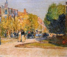 Marlborough Street, Boston, 1889, Childe Hassam