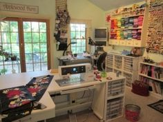 sewing studio - heck the sewing cabinet alone is something to drool over!Dream sewing studio - heck the sewing cabinet alone is something to drool over! Craft Room Storage, Sewing Room Storage, Sewing Room Organization, My Sewing Room, Sewing Rooms, Craft Rooms, Studio Organization, Sewing Kit, Sewing Basics