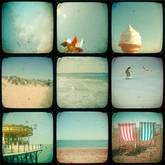 A set of nine quality photographic prints featuring the essence of the seaside; ice cream, birds, pin wheels, deck chairs and sand dunes. These vintage style prints are nostalgic, dreamy and ooze charm. This collection of mini prints can be f. Seaside Art, British Seaside, Coastal Wall Art, British Summer, Coastal Living, Polaroid, Bucket And Spade, English Summer, Julien