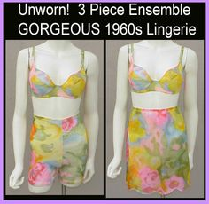 Sexy 1960s Lingerie Set Slip, Bra, Girdle, Bra Size 34 B Medium