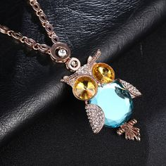 Fnsn 2017 New Women Necklaces&Pendants Owl Trendy Charms Crystal  Chokers Necklace  Gold Plated link Chain Animal Necklaces Hot