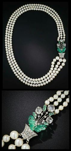 """diamondsinthelibrary: """" Glorious Art Deco pearl necklace by Boucheron, circa Just look at that clasp! Floral motif with carved emeralds and rose-cut diamonds. Emerald Necklace, Pearl Pendant Necklace, Emerald Jewelry, Pearl Jewelry, Antique Jewelry, Vintage Jewelry, Emerald Rings, Ruby Rings, Sapphire Earrings"""