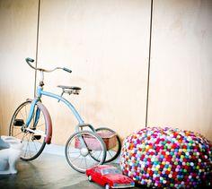 That Rabbit Lamp. Vintage tricycle, pouf.