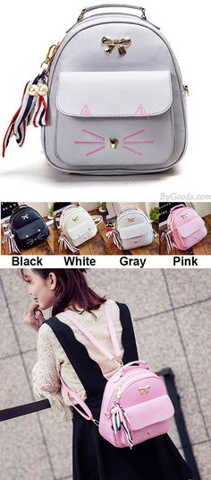 Cute Cartoon Kitty Metal Bow Cat Embroidery Animal School Backpack for big sale ! Lace Backpack, Retro Backpack, Diy Backpack, Backpack For Teens, Leather Backpack, Cute Backpacks, Girl Backpacks, Backpacks For Teens School, College Backpacks