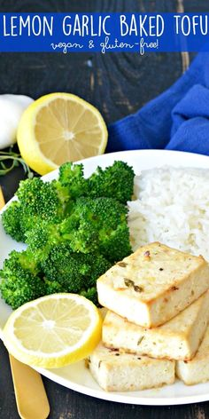 Lemon Garlic Baked Tofu is a flavorful recipe that's easy to make. It's naturally vegan and gluten-free. Enjoy it with your favorite grain and vegetable for a healthy meal Vegan Vegetarian, Vegetarian Recipes, Cooking Recipes, Vegan Raw, Vegan Food, Cooking Tips, Delicious Vegan Recipes, Healthy Recipes, Firm Tofu Recipes