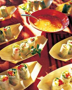 """See the """"Vegetable Summer Rolls"""" in our Outdoor Party Drinks and Appetizers gallery Tapas, Appetizer Recipes, Appetizers, Summer Rolls, Spring Rolls, Martha Stewart Recipes, Vegan Recipes, Cooking Recipes, Good Food"""