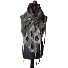 Felted scarf felt scarf felted collar handmade art to wear grey black... ($71) ❤ liked on Polyvore featuring accessories, scarves, grey shawl, boho scarves, gray scarves, grey scarves and bohemian scarves