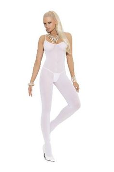 Elegant Moments Lingerie 1601 White Bodystocking White bodystocking with spaghetti straps, round neckline and provocative open crotch. The fitted design highlights the body lines for added sass. http://www.MightGet.com/january-2017-12/elegant-moments-lingerie-1601-white-bodystocking.asp