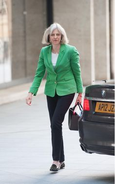 Theresa May wears a green jacket to 'The Andrew Marr Show' on the 25 May…