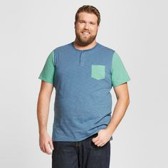 Men's Short Sleeve Color Block Henley with Pocket - Mossimo Supply Co.