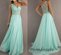 Long prom dress, 2015 ice blue beaded one shoulder chiffon long prom dress for teens, ball gown, grad dress, evening dress #promdress