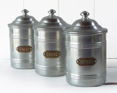 Set of 3 French Aluminum Canisters  Storage pots  by LaLoupiote, $80.00