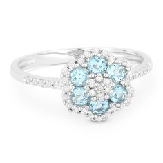 0.63ct Round Cut Blue Topaz & Diamond Pave Right-Hand Flower Ring in 14k White Gold - AlfredAndVincent.com