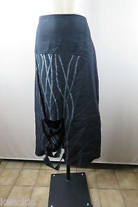 Size 8 XS Ladies Black Maxi Skirt Unique Cut Out Boho Chic Work Business Design  | eBay