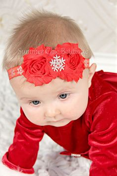 Snowflake Headband Baby Headband Red by SummerChicBoutique on Etsy
