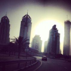 Driving into the sunset Dubai