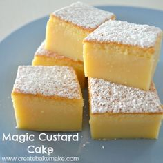 I& calling it, this Magic Custard Cake really is magic. There were more than a few occasions I almost gave up and tipped the mixture into the bin while I was making this. Magic Cake Recipes, Cheesecake Recipes, Sweet Recipes, Recipe Magic, Easy Recipes, Great Desserts, Dessert Recipes, Recipes Dinner, Breakfast Recipes