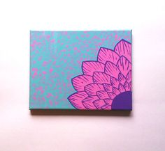 Pink flower fashionable acrylic canvas painting for trendy baby girls room