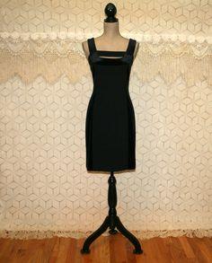 *80s Y L Yair Little Black Velvet Sleeveless Midi Dress Size SMALL