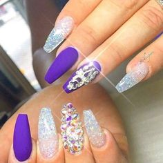 to Make Your Make your with these Glitter Nail Art For Glitter Nails; and Glitter Nail Design for Short Sexy Nails, Hot Nails, Fancy Nails, Hair And Nails, Purple Glitter Nails, Glitter Nail Art, Blue Nails, Silver Glitter, Purple Sparkle