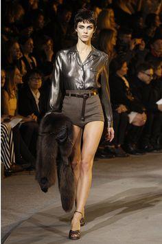 Metallic top and tweed shorts Marc Jacobs AW13 New York Fashion Week