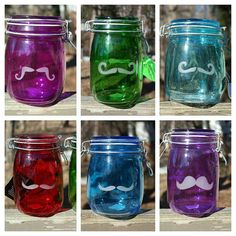 The Stache Family at https://www.etsy.com/listing/218935207/saleetched-colored-stache  stache, stash jar, etched glass, airtight, hermetic,  mustache, storage,  ScarletBG1