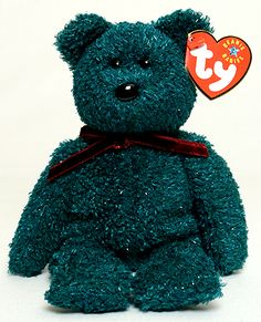 2001 Holiday Teddy, Ty Beanie Baby bear, reference information and photograph. Beanie Babies Value, Beanie Baby Bears, Cute Eyes, Big Eyes, Ty Stuffed Animals, Ty Bears, Ty Babies, Dad Day, Vintage Dolls
