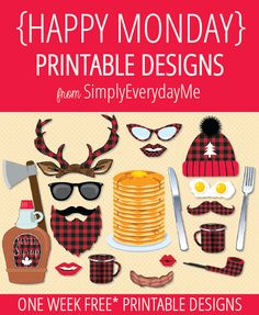 Your weekly free* {HAPPY MONDAY} printable design from SimplyEverydayMe // Silly Lumberjack Photo Booth Props // Simply print, create and share... it's that easy! *New to {HAPPY MONDAY}... see details about *free printables here... SimplyEverydayMe... playful party printables... print.create.share #happymonday #SimplyEverydayMe #lumberjackparty #lumberjackprops #lumberjackprintable