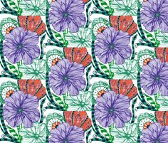 Blooming Purple Color fabric by syllatham on Spoonflower - custom fabric