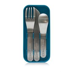 monbento Bento Cutlery Set Fork Spoon Knife and Case Blue