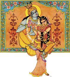 Radha Krishna Krishna Statue, Krishna Art, Radhe Krishna, Hanuman, Lord Krishna Images, Krishna Pictures, Krishna Painting, Madhubani Painting, Indian Folk Art
