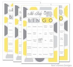 Baby Shower Bingo Elephant Themed Yellow and grey - you print. $6.99, via Etsy.
