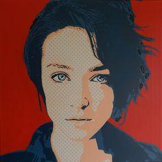 Jeune femme aux yeux bleus sur fond rouge (Peinture), 50x50x2 cm par Olivier CARPENT Pochoir entièrement découpé à la main & peint à la bombe aérosol sur toile.