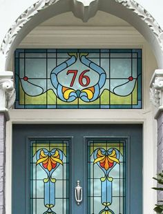 Interiors: A grander entrance Restore period details on your front door – Art Deco house number by Purlfrost. Stained Glass Door, Stained Glass Designs, Stained Glass Panels, Stained Glass Projects, Stained Glass Patterns, Leaded Glass, Mosaic Glass, Art Nouveau, Glass Front Door
