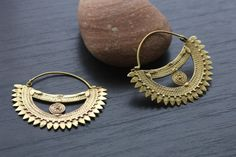 Brass Tribal Earrings - African Tribal Jewelry - AristaBeads Jewelry - 1
