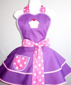 Purple and Pink Cupcake Apron with Polka Dots by sjcnace4 on Etsy, $55.00