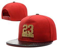 Men's Pyrex Number 23 Gold Metal Logo Faux Croco Leather Print Visor Hip Hop Snapback Hat - Red / Black