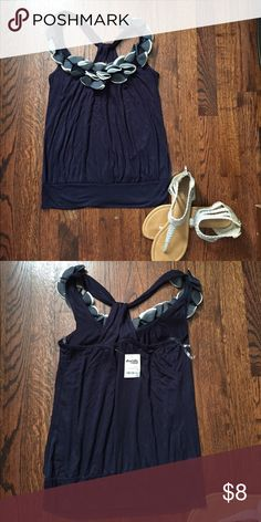 Charlotte Ruse Navy Floral Embellished Tank 💙 NEW never worn. Charlotte Ruse tank top, simple with a floral flare🌷 Charlotte Russe Tops Tank Tops