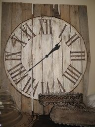 Simply paint a clock on a pallet and add the clock workings from a kit.