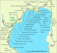 Map of north Lake Tahoe Beaches South Lake Tahoe, Lake Tahoe Map, Lake Tahoe Beach, Lake Tahoe Summer, Lake Tahoe Vacation, Lac Tahoe, Tahoe Vista, Reno Tahoe, California Camping