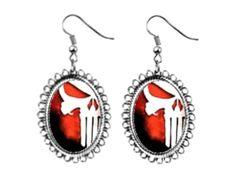 punisher skull Earrings silver plated oval pendant charm