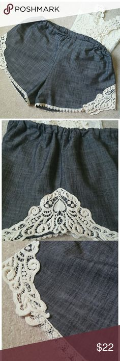 "*MY BELOVED Crochet Lace Shorts* *Great Condition!! Crochet lace details are beautiful. Elastic waist band. Length: 11"". Width: 13.5"". Inseam:  3.5"". 94% Cotton. 6% Spandex. Inseam thread looks a little loose, but confident nothing to worry :)-(Picture 6) Tag says Large but due to elastic waist band, it can fit a Posher who is a medium or small (Tried them on for fit). Ask any questions. Happy Poshing!!* My Beloved Shorts"