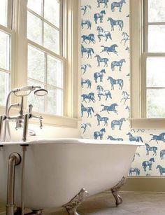 Love the wallpaper in this bathroom! So fun!