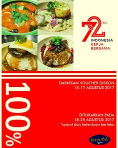 Super spesial diskon Hanya di @santebyjeux... Dapatkan voucher diskon 15-17 Agustus 2017 ------- Penukaran berlaku 18-25 Agustus 2017 ------- Asli diskon nya buat MERDEKA  #indonesia #merdeka #72tahun #santébyjeux #letsgetsanté #diskon #cafemakassar #coffeeshopmakassar #coffeehousemakassar #makassarkeren #cafekeren ---- Syarat dan ketentuan berlaku